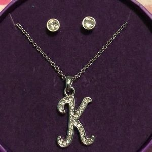 """Stud Earrings and """"K"""" charmed necklace"""